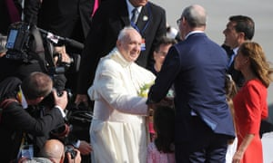 Pope Francis arrives at Dublin airport on Friday. Photograph: Aidan Crawley/EPA