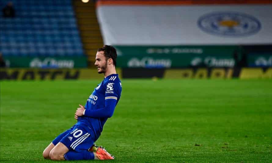 James Maddison celebrates a goal against Brighton.