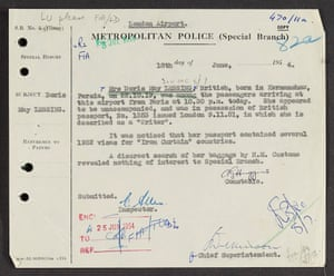 Metropolitan Police (Special Branch) report from 1954 on Lessing.