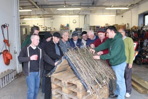 At the Men in Sheds project in Bolton, volunteers make bird tables and bug hotels