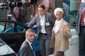 International Monetary Fund Managing Director Christine Lagarde leaves a Eurozone finance ministers emergency meeting in Brussels, Belgium, June 24, 2015. Greek Prime Minister Alexis Tsipras wrestled with creditors demanding changes to his proposed tax and reform plans on Wednesday in a last-minute race to clinch a deal to which euro zone finance ministers could late agree. REUTERS/Philippe Wojazer