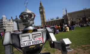 David Wreckham on an anti-killer robot leafletting drive outside parliament in April.