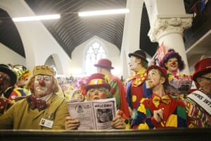 Clowns pay tribute to the late king of clowns, Joseph Grimaldi at an annual service at All Saints Church in London