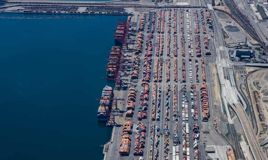Ships wait to be offloaded at the Port of Long Beach in California. Similar backlogs exist at ports in New York and Savannah, Georgia.