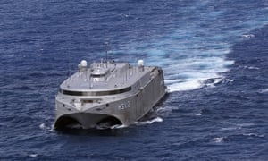 A catamaran being tested by the US military is seen by helicopter in waters off the coast of Hawaii on during Rimpac in 2004.