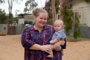 Lauren Blunden and son William, outside the manager's house on Tolarno Station, south of Menindee.