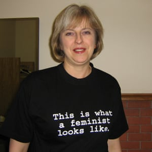 Theresa May wearing a feminist T-shirt in 2006.