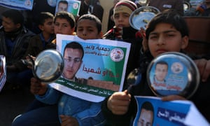 Palestinians staging a protest in support of Mohammed al-Qiq on Wednesday.