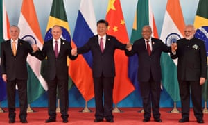 (L-R) Brazil's President Michel Temer, Russian President Vladimir Putin, Chinese President Xi Jinping, South Africa's President Jacob Zuma and Indian Prime Minister Narendra Modi pose for a group photo during the Brics summit in China.