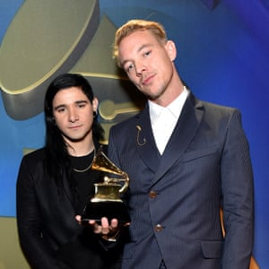 The real Diplo, Wes Pentz (right), at the 2016 Grammys with Skrillex – the duo perform together as Jack Ü.