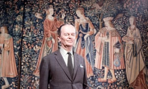 Sir Kenneth Clark at the Monastery of Cluny, France whilst filming Civilisation.