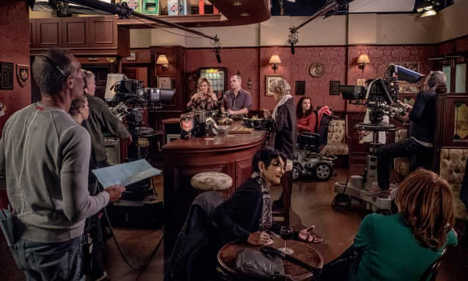Shooting a scene in the Rovers Return.