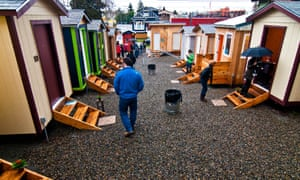 The tiny house village in Seattle. The structures, which are funded by a variety of donors, cost about $2,300 to build, and the labor is often provided free of charge by students at local trade schools.