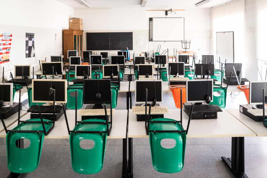 An empty classroom in Milan in April 2020