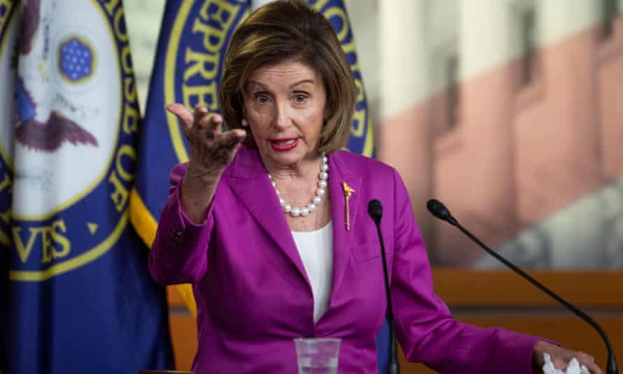 Nancy Pelosi during her weekly press conference at the US Capitol on Wednesday.