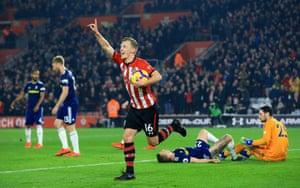 Ward-Prowse celebrates Southampton's second goal.