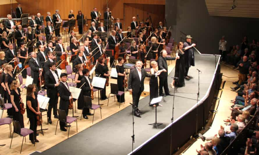Ravishing … Mark Elder with orchestra and soloists at the Bridgewater Hall.