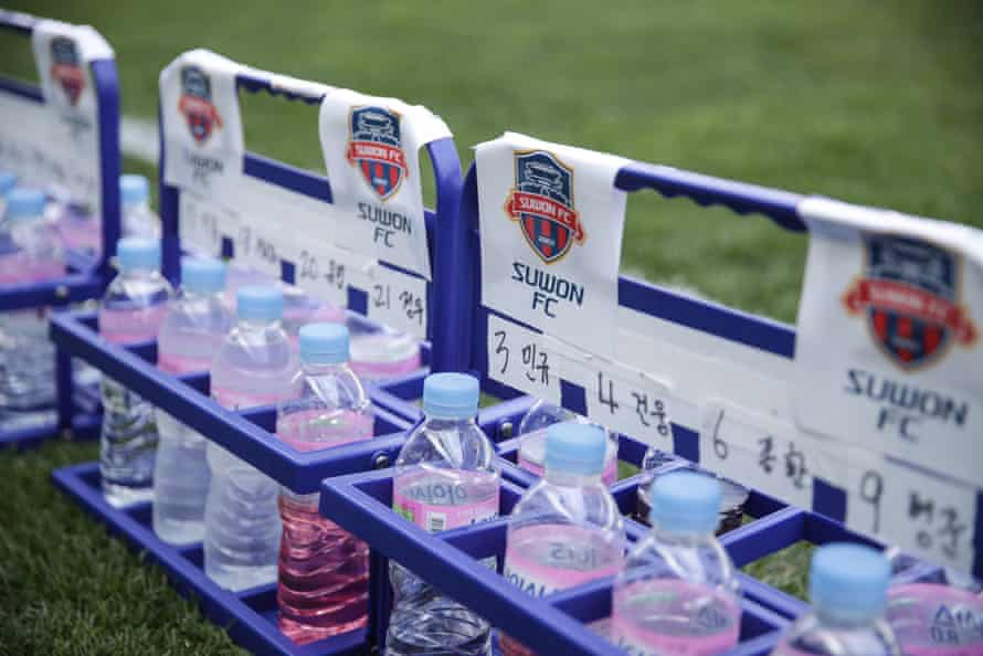 Personalised water bottles at the Incheon United v Suwon FC practice match.