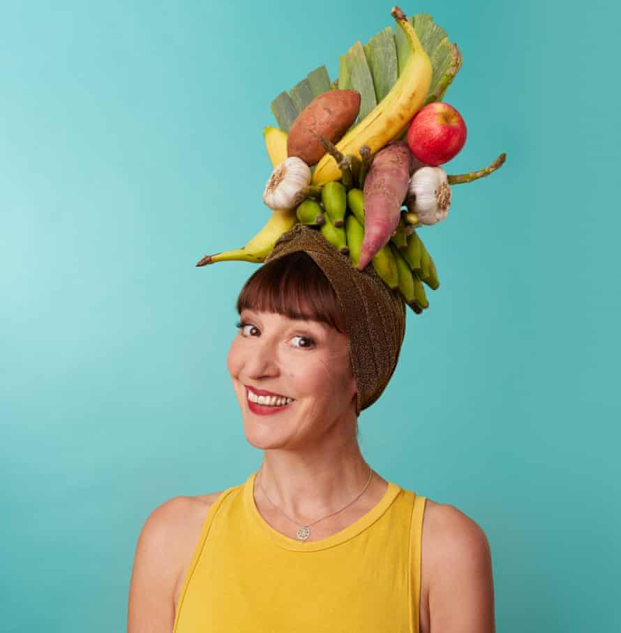 Zoe Williams with fruit and veg on her head