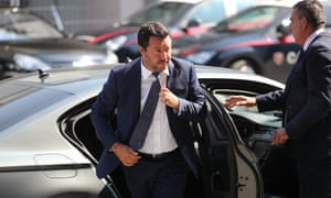 Italy's interior minister, Matteo Salvini, arriving for the state funeral of some of the victims.