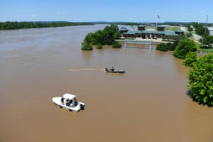 The Arkansas River floods Harry E Kelley River Park on 30 May 2019, in Fort Smith, Arkansas
