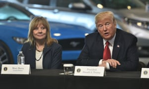Donald Trump with the General Motors CEO, Mary Barra, last year.