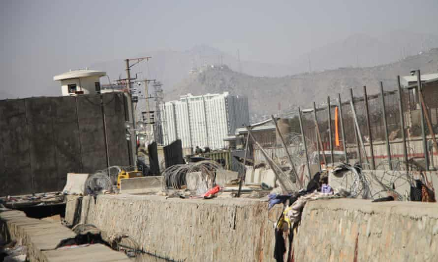 The site of the explosion near the Kabul airport.