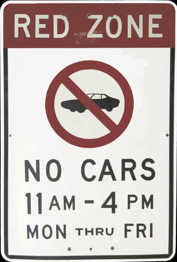 Sign for the 1971 Red Zone, which was cancelled before it was implemented.