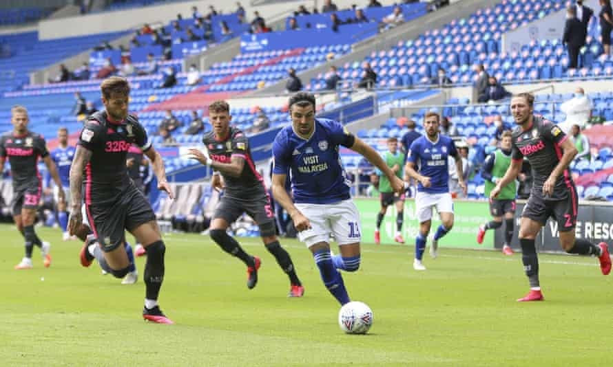 Cardiff's Callum Paterson leads another home attack in the 2-0 win over Leeds.