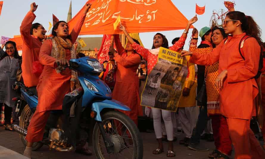 Pakistani women rally in Karachi.