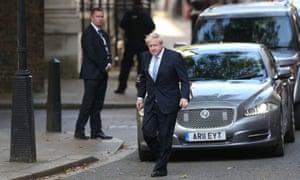 Boris Johnson with a prime-ministerial Jaguar.