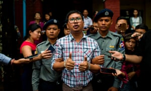 Detained Myanmar journalist Wa Lone after appearing in court on 20 August