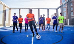Young people playing football at the Street League charity, which aims to be transparent about both success and failure.