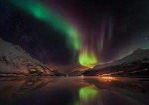 Aurora over Laksvatn Fjord , Laksvatn, Norway