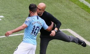 Pep Guardiola greets Sergio Agüero as he leaves the field – more substitutions will be permitted when the Premier League resumes.