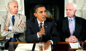 Barack Obama speaks about immigration reform in 2009, flanked by Joe Biden and John McCain.