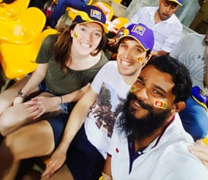 Anjula Fernando, right, escorting tourists to a Sri Lanka cricket match.