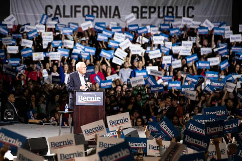 Bernie Sanders speaks to supporters during a campaign rally in Los Angeles on Sunday.
