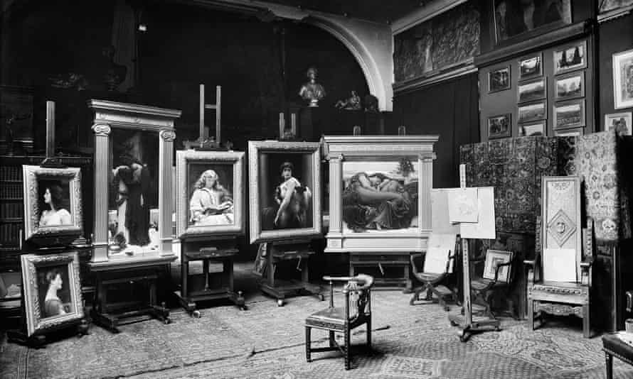 Leighton's recently completed works, including Flaming June and The Maid with the Golden Hair, photographed in his studio in 1895.