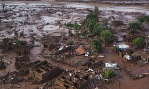 The remains of the village of Bento Rodrigues in Brazil, which bore the brunt of the torrent of mud released after the collapse of two dams on Thursday.
