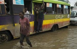 A dalla dalla bus on the flooded Bagamoyo Road.