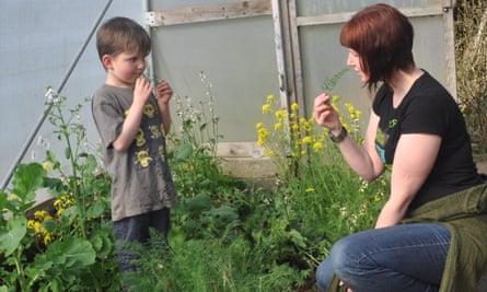 Kim Stoddart and her son Arthur picking fennel in the polytunnel in their garden.