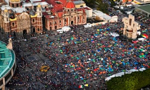 Aerial view of pilgrims gathering outside the Basilica of Guadalupe in Mexico City on 12 December 2019.