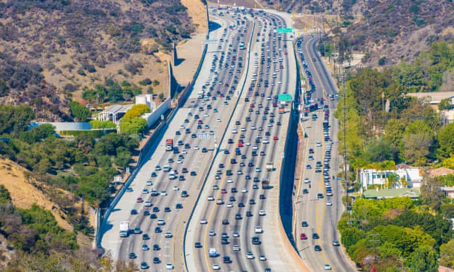 A busy road in Los Angeles, California.