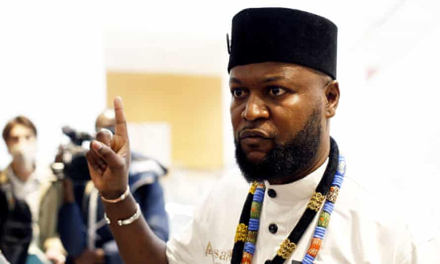 Emery Mwazulu Diyabanza, above, said his campaign will continue as long as the 'injustice of pillaging Africa has not been remedied'.