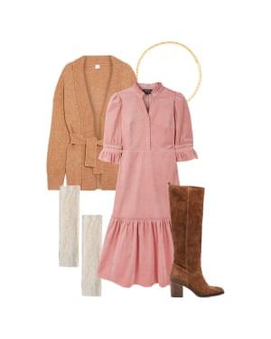 Harriet Green, editor, Observer Magazine: 'Mix textures for a cosy look.' Pink dress, £280, wyselondon.co.uk. Cardigan, £175, Iris & Ink at the outnet.com. Bracelet, £49, astridandmiyu.com. Boots, £180, dunelondon.com. Mittens, £9.99, zara.com