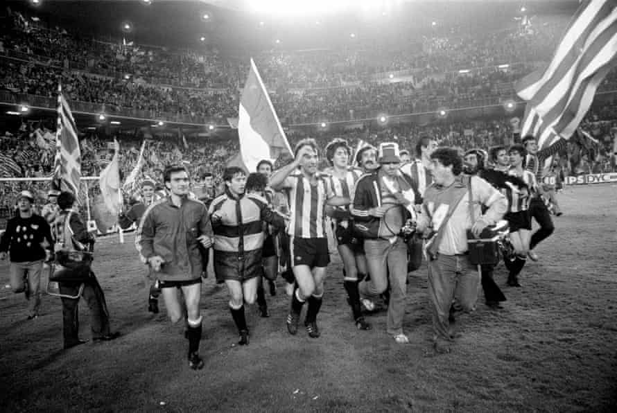 Athletic Bilbao celebrate with their fans after beating Barcelona to win the Copa Del Ray and complete the double.