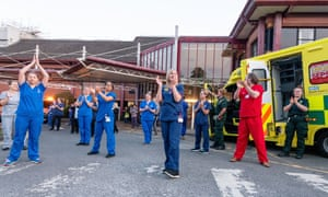 Emergency services and key workers join NHS staff at the Princess Royal Hospital, Haywards Heath, last Thursday to thank them for their care of Covid-19 patients
