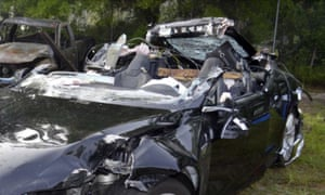 The wreck of the fatal Tesla crash, which killed its driver, Joshua Brown.