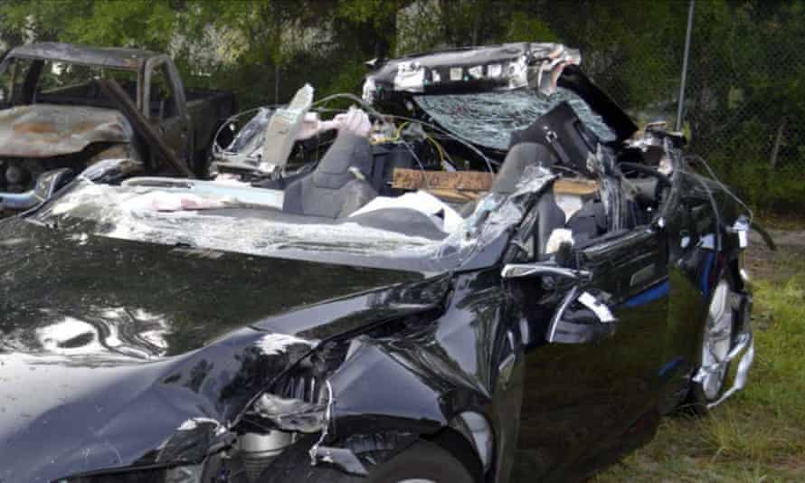 A Tesla Model S that was being driven by Joshua Brown, who was killed when the Tesla sedan crashed while in self-driving mode in Florida on 7 May 2016.